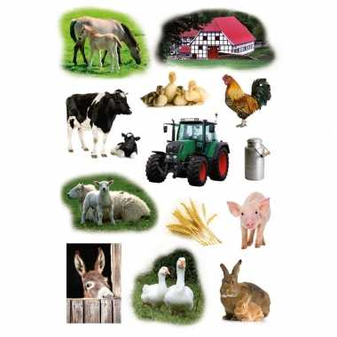 9x boerderij dieren stickervellen met 13 stickers