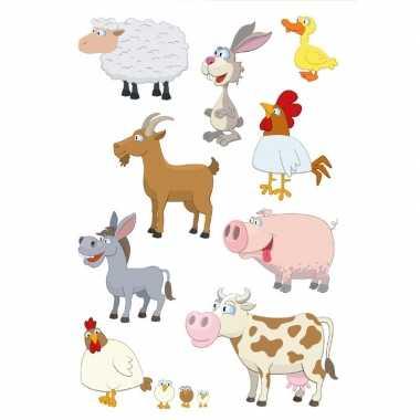 9x boerderij dieren stickervellen met 9 stickers