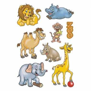 9x dierentuin dieren stickervellen met 8 stickers