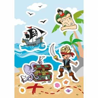 9x piraat stickervellen met 8 stickers