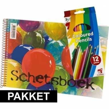 A4 tekenboek inclusief 24 kleurpotloden