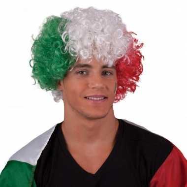 Afro pruik in kleuren van italie
