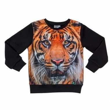 All-over print crewneck sweater met tijger voor kinderen