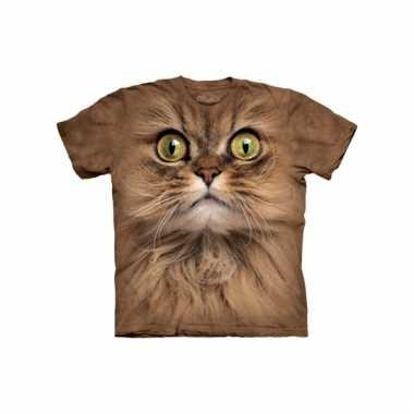 All-over print t-shirt bruine kat