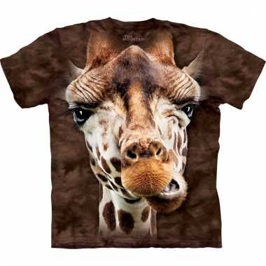 All-over print t-shirt giraf bruin