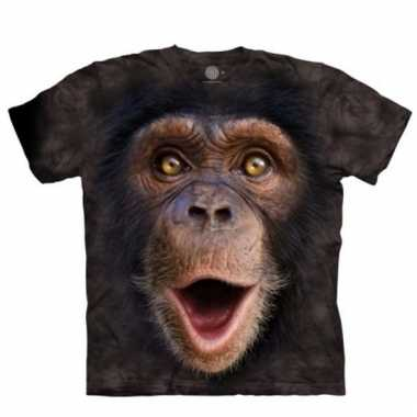 All-over print t-shirt met baby chimpansee aap