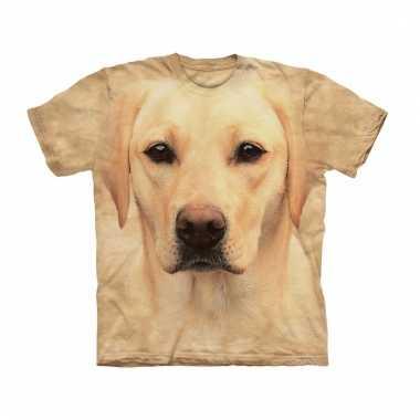 All-over print t-shirt met blonde labrador