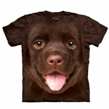 All-over print t-shirt met bruine labrador pup hond
