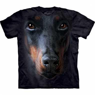 All-over print t-shirt met doberman