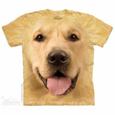 All-over print t-shirt met golden retriever hond