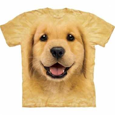 All-over print t-shirt met golden retriever pup hond