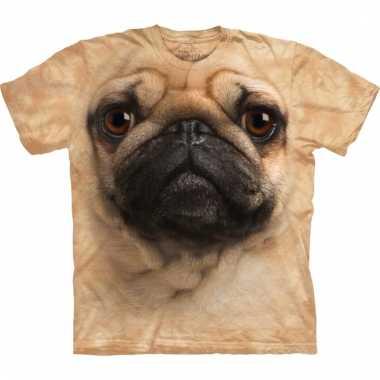 All-over print t-shirt met mopshond