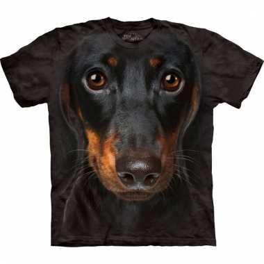 All-over print t-shirt met pincher hond