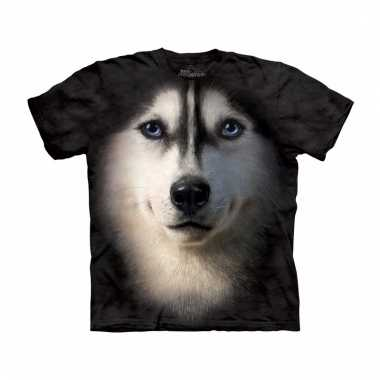 All-over print t-shirt met siberische husky hond
