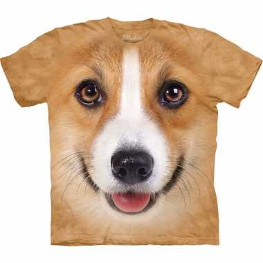 All-over print t-shirt met welsh corgi pembroke hond