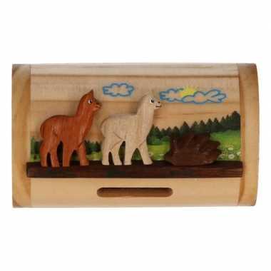 Alpaca/lama spullen verzamelaar houten box