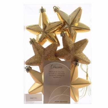 Ambiance christmas gouden kerststerren 6 stuks