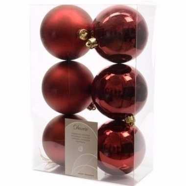 Ambiance christmas kerstboom decoratie kerstballen donkerrood 6 stuks