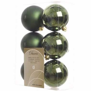 Ambiance christmas kerstboom decoratie kerstballen groen 6 stuks