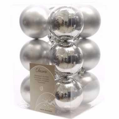 Ambiance christmas kerstboom decoratie kerstballen zilver 12 stuks