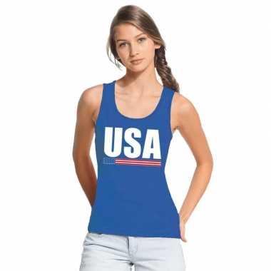 Amerika supporter mouwloos shirt/ tanktop blauw dames