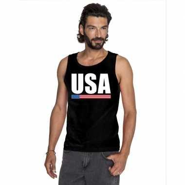 Amerika supporter mouwloos shirt/ tanktop zwart heren