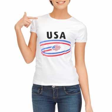 Amerika t-shirt voor dames met vlaggen print