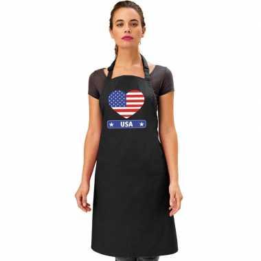 Amerikaanse vlag in hart keukenschort/ barbecueschort zwart heren en