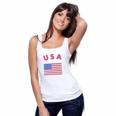 Amerikaanse vlag tanktop/ t-shirt voor dames