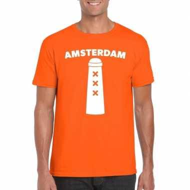 Amsterdam shirt met amsterdammertje oranje heren