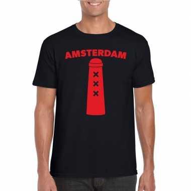 Amsterdam shirt met amsterdammertje zwart heren