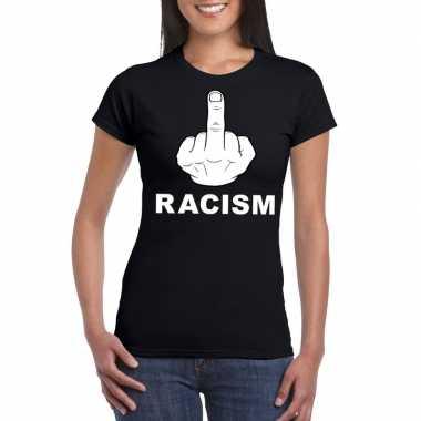 Anti racisme t-shirt zwart fuck racism voor dames