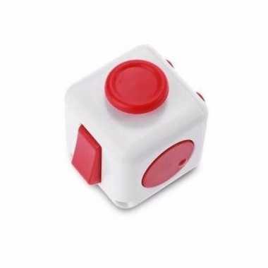 Anti stress speelgoed fidget cube wit rood