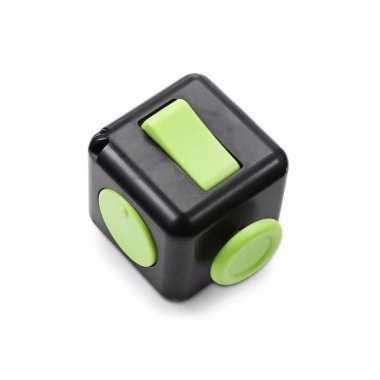 Anti stress speelgoed fidget cube zwart groen