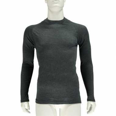 Antraciet grijs thermo shirt met lange mouwen voor heren