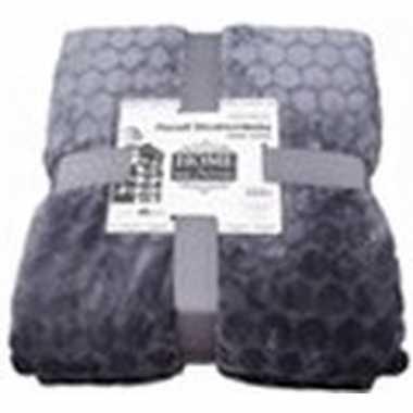 Antraciet grijze nepbont/pluche grote deken/plaid 150 x 200 cm