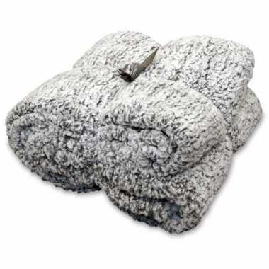 Antraciet grijze wollige woondeken/woonplaid 150 x 200 cm