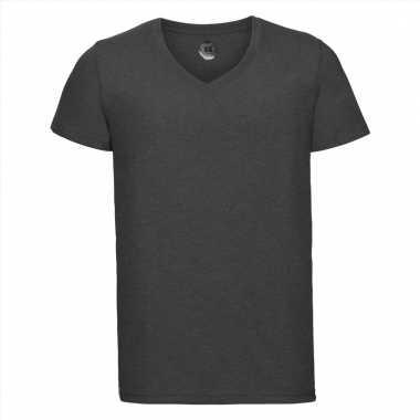 Antraciet heren t-shirts met v-hals