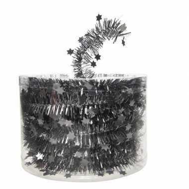 Antraciet kerstboom folie slinger met ster 700 cm