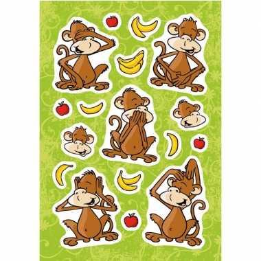 Apenstickers met zacht kunsttof stickervel met 17 stickers