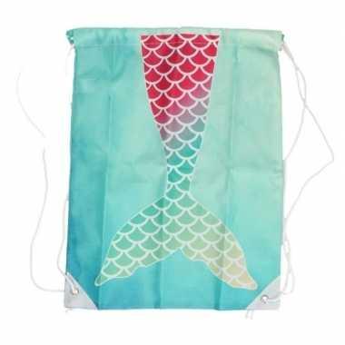 Aqua gymtasje met roze/groene zeemeermin schubben print