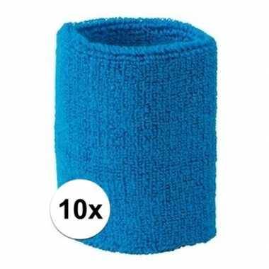 Aquablauwe polsbandjes 10 stuks