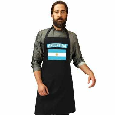 Argentijnse vlag keukenschort/ barbecueschort zwart heren en dames