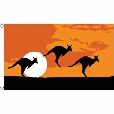 Australie dieren thema vlag 90 x 150 cm