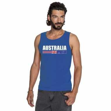 Australie supporter mouwloos shirt/ tanktop blauw heren