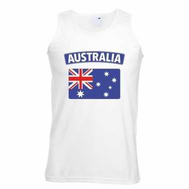 Australie vlag mouwloos shirt wit heren