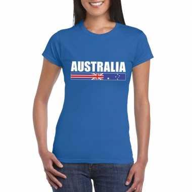 Australische supporter t-shirt blauw voor dames