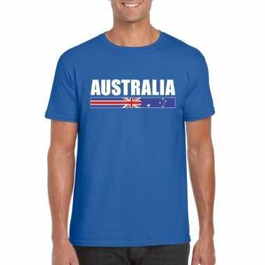 Australische supporter t-shirt blauw voor heren