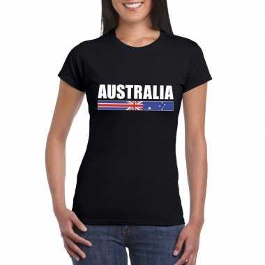 Australische supporter t-shirt zwart voor dames