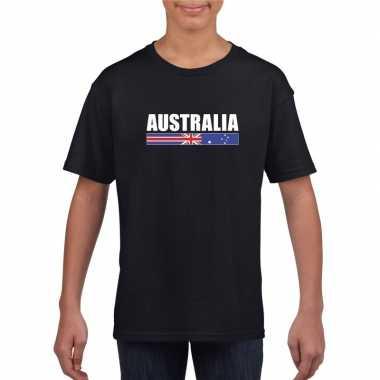 Australische supporter t-shirt zwart voor kinderen